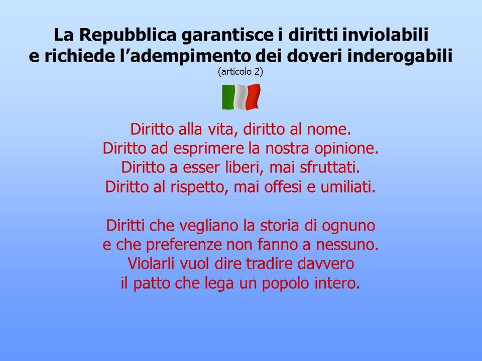 LItalia è una Repubblica democratica (articoli 1 e 12) Due giugno quarantasei: il popolo italiano vota per la Repubblica, non vuole più un sovrano. Vo