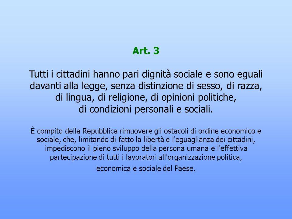 Art. 2 La Repubblica riconosce e garantisce i diritti inviolabili dell'uomo, sia come singolo sia nelle formazioni sociali ove si svolge la sua person