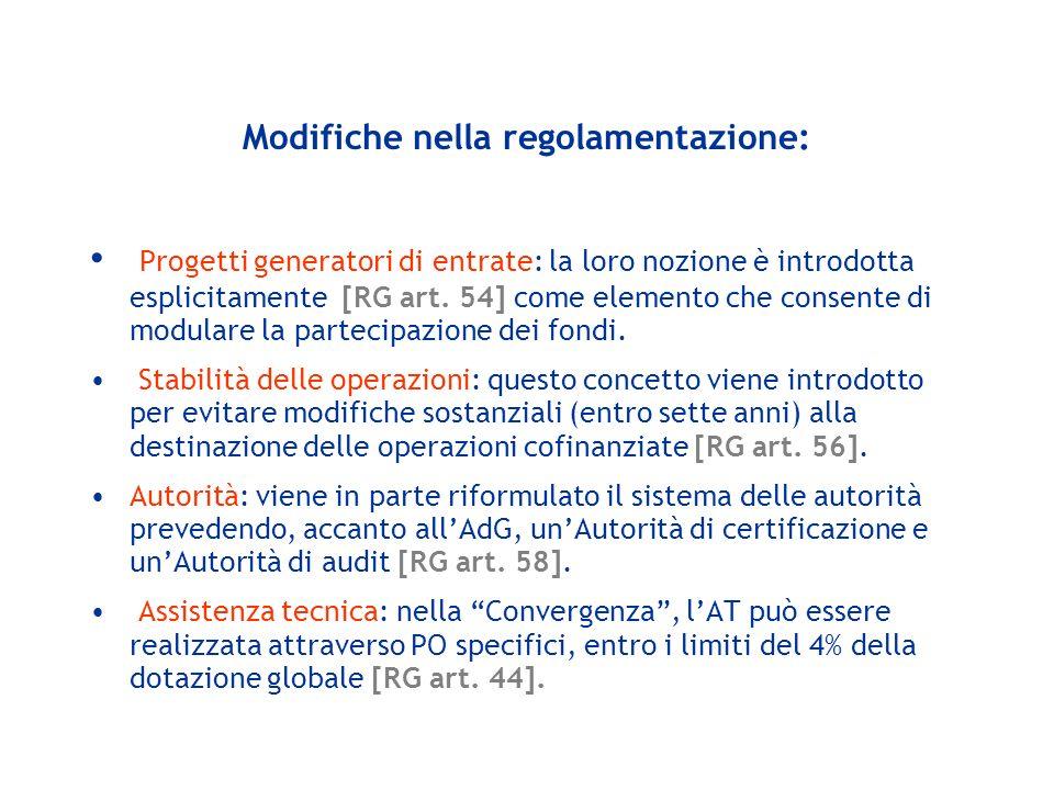 Modifiche nella regolamentazione: Progetti generatori di entrate: la loro nozione è introdotta esplicitamente [RG art. 54] come elemento che consente