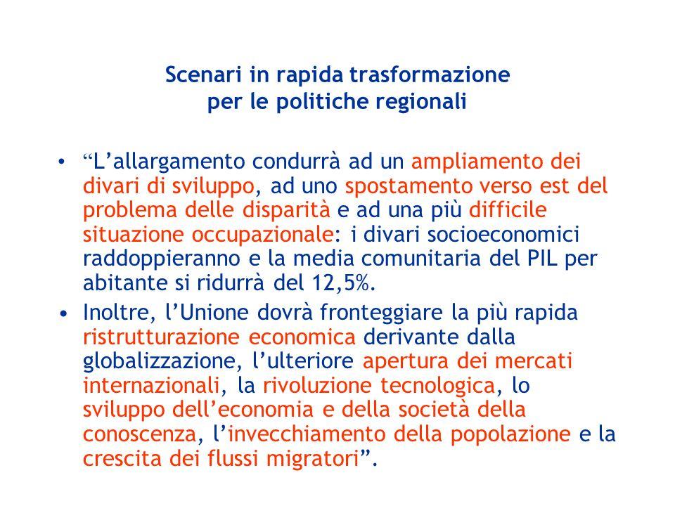 < 50 50 - 75 75 - 90 90 - 100 100 - 125 >= 125 Assenza dati PIL per abitante (2001), Media UE = 100 La nuova geografia delle disparità