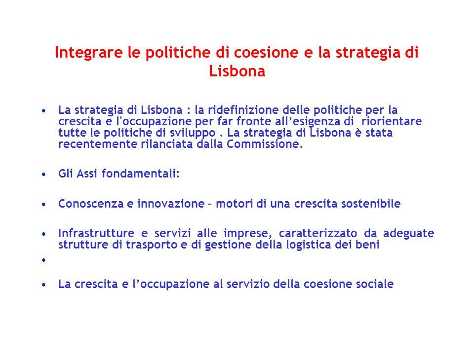 Integrare le politiche di coesione e la strategia di Lisbona La strategia di Lisbona : la ridefinizione delle politiche per la crescita e l'occupazion