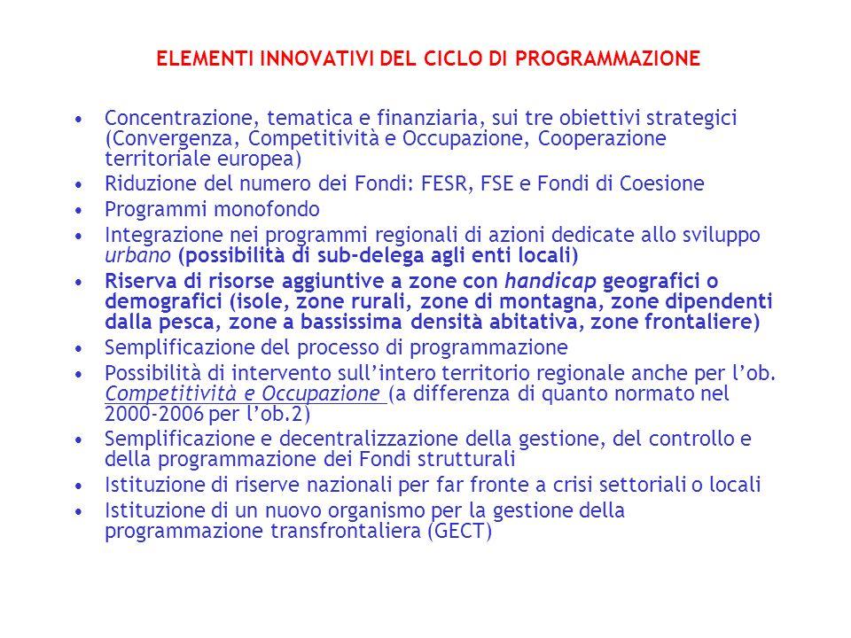 ELEMENTI INNOVATIVI DEL CICLO DI PROGRAMMAZIONE Concentrazione, tematica e finanziaria, sui tre obiettivi strategici (Convergenza, Competitività e Occ