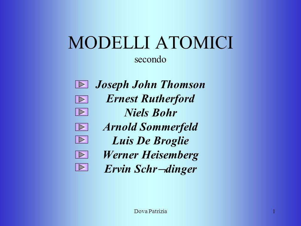 Dova Patrizia1 MODELLI ATOMICI secondo Joseph John Thomson Ernest Rutherford Niels Bohr Arnold Sommerfeld Luis De Broglie Werner Heisemberg Ervin Schr