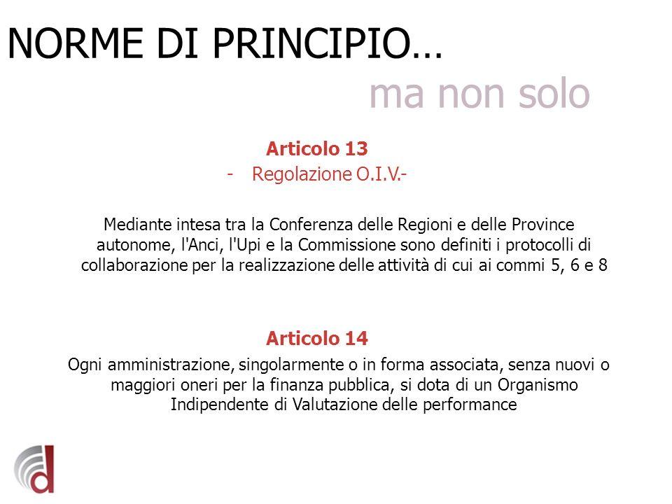 NORME DI PRINCIPIO… ma non solo Articolo 13 -Regolazione O.I.V.- Mediante intesa tra la Conferenza delle Regioni e delle Province autonome, l'Anci, l'