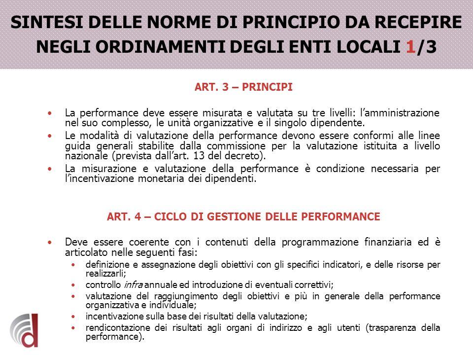 SINTESI DELLE NORME DI PRINCIPIO DA RECEPIRE NEGLI ORDINAMENTI DEGLI ENTI LOCALI 1/3 ART. 3 – PRINCIPI La performance deve essere misurata e valutata