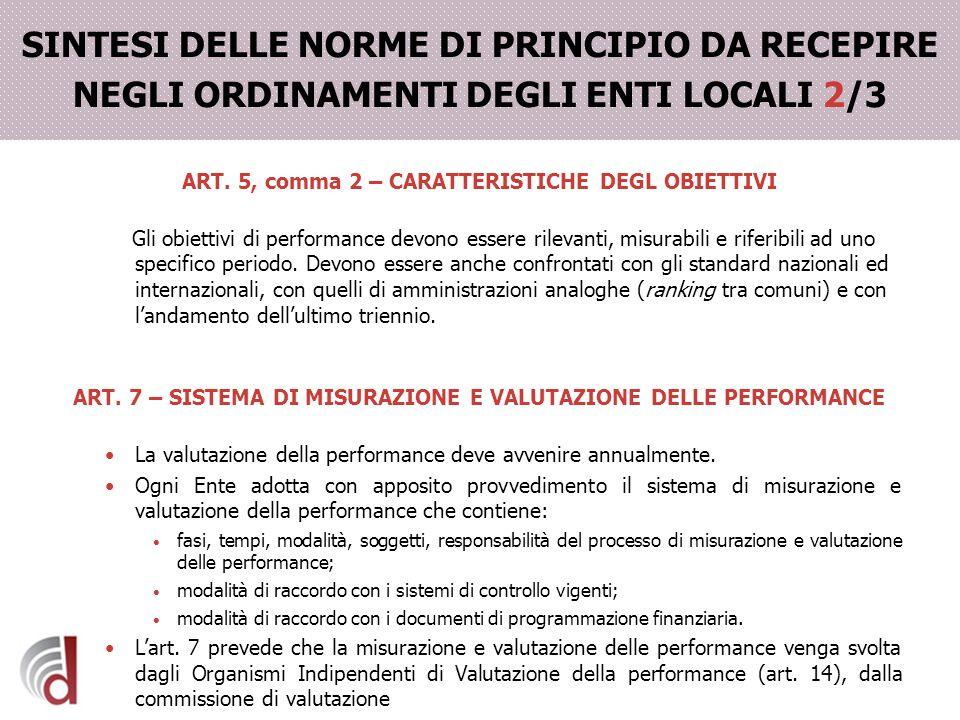 SINTESI DELLE NORME DI PRINCIPIO DA RECEPIRE NEGLI ORDINAMENTI DEGLI ENTI LOCALI 2/3 ART. 5, comma 2 – CARATTERISTICHE DEGL OBIETTIVI Gli obiettivi di