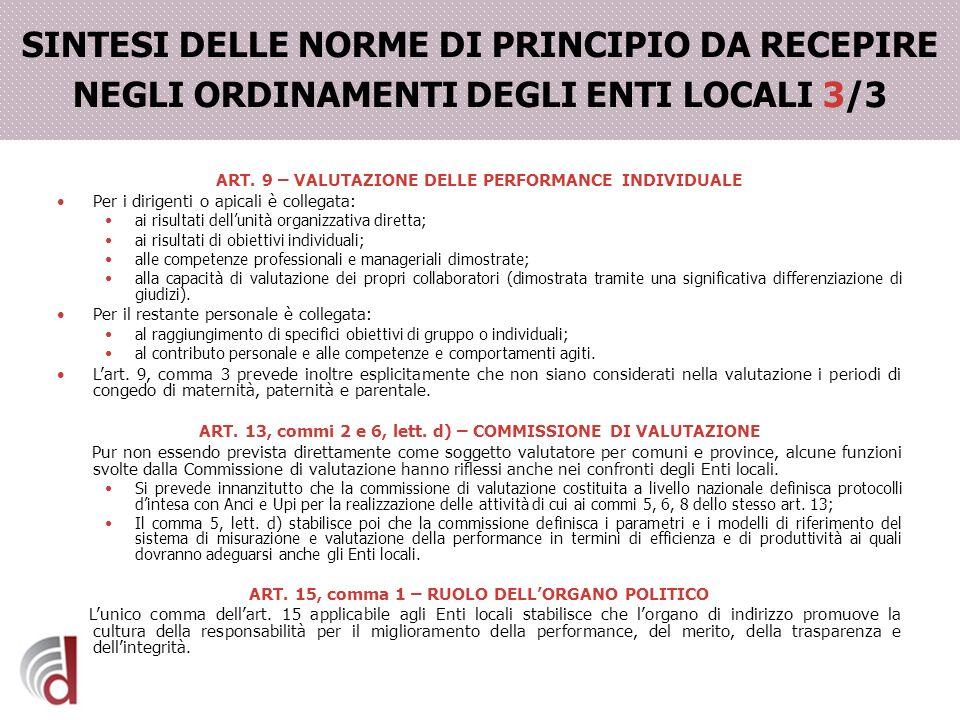 SINTESI DELLE NORME DI PRINCIPIO DA RECEPIRE NEGLI ORDINAMENTI DEGLI ENTI LOCALI 3/3 ART. 9 – VALUTAZIONE DELLE PERFORMANCE INDIVIDUALE Per i dirigent