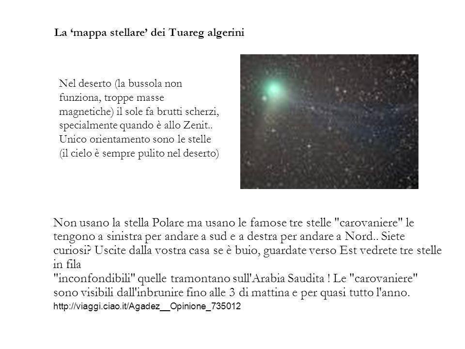 La mappa stellare dei Tuareg algerini Non usano la stella Polare ma usano le famose tre stelle