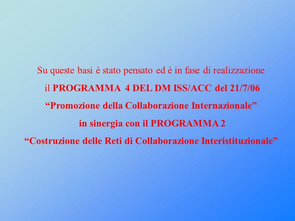 Su queste basi è stato pensato ed è in fase di realizzazione il PROGRAMMA 4 DEL DM ISS/ACC del 21/7/06 Promozione della Collaborazione Internazionale in sinergia con il PROGRAMMA 2 Costruzione delle Reti di Collaborazione Interistituzionale