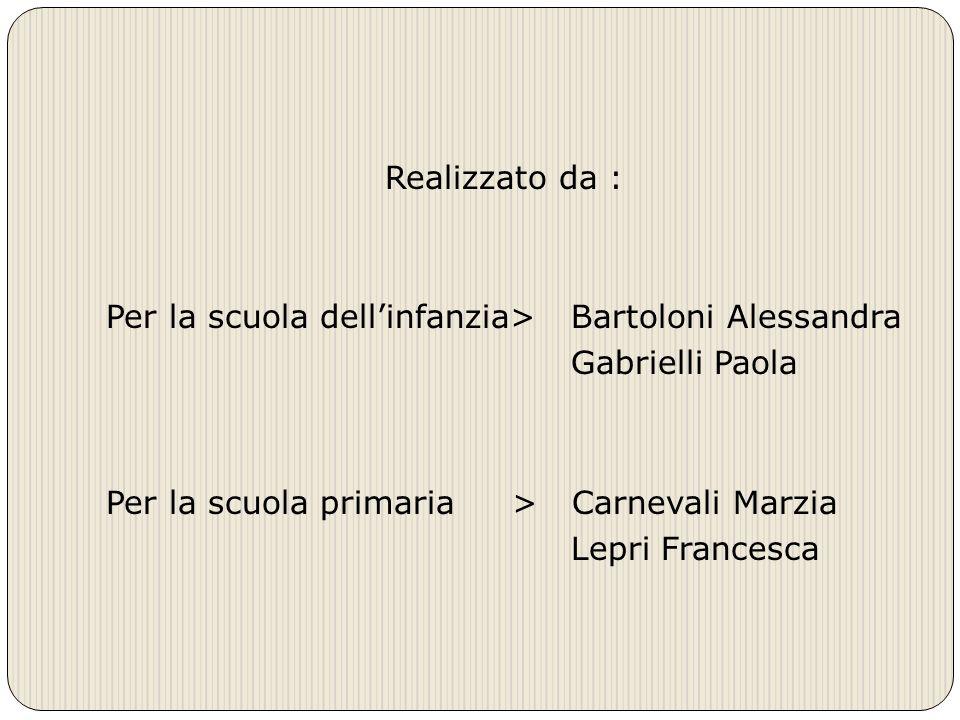 Realizzato da : Per la scuola dellinfanzia> Bartoloni Alessandra Gabrielli Paola Per la scuola primaria > Carnevali Marzia Lepri Francesca