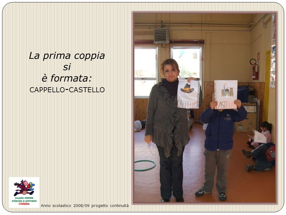 La prima coppia si è formata: CAPPELLO - CASTELLO Anno scolastico 2008/09 progetto continuità