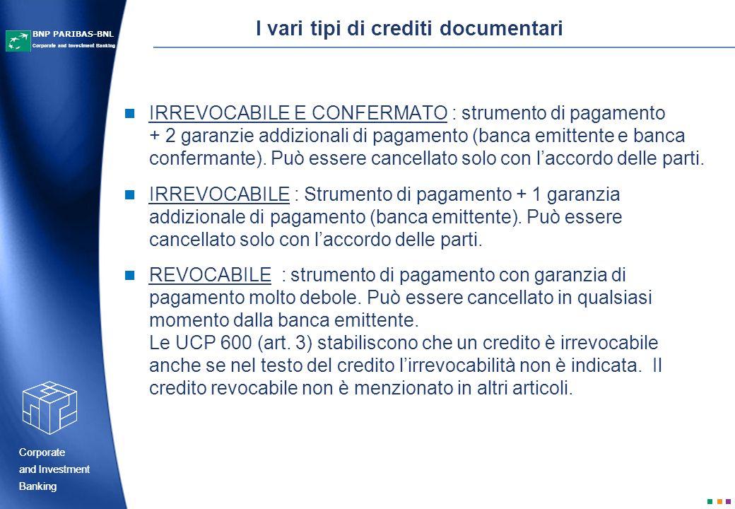 Corporate Banking and Investment Corporate Banking and Investment Corporate and Investment Banking BNP PARIBAS-BNL I termini e le condizioni possono essere modificati con laccordo delle parti.