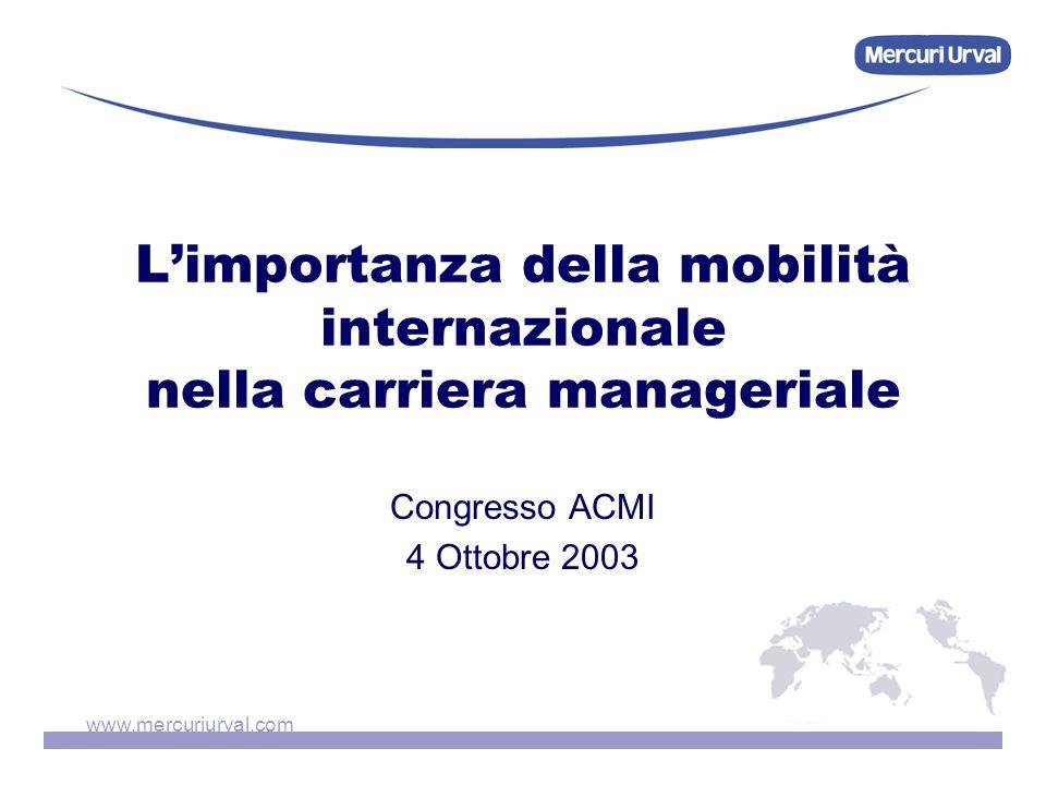 www.mercuriurval.com Limportanza della mobilità internazionale nella carriera manageriale Congresso ACMI 4 Ottobre 2003