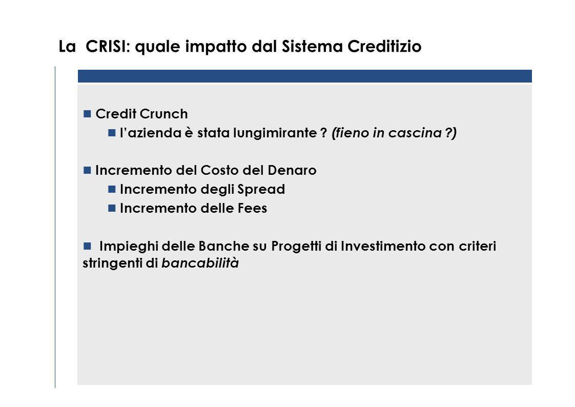 La CRISI: quale impatto dal Sistema Creditizio Credit Crunch lazienda è stata lungimirante .