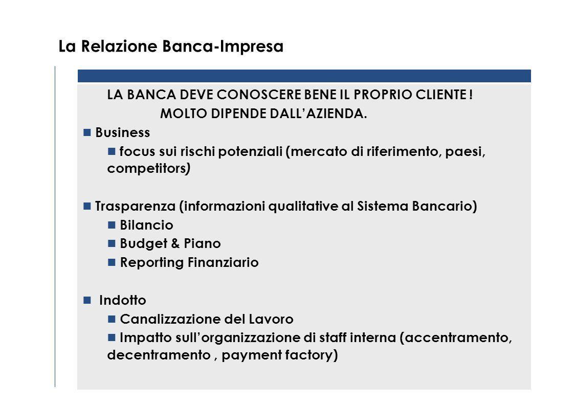 La Relazione Banca-Impresa LA BANCA DEVE CONOSCERE BENE IL PROPRIO CLIENTE .