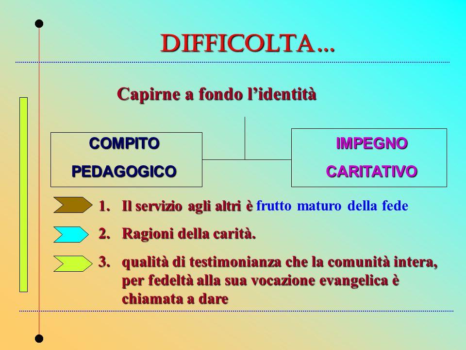 DIFFICOLTa… Capirne a fondo lidentità 1.Il servizio agli altri è 1.Il servizio agli altri è frutto maturo della fede 2.Ragioni della carità. 3.qualità