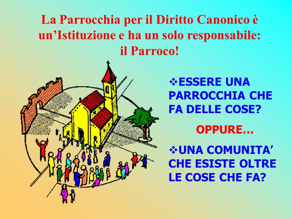 La Parrocchia per il Diritto Canonico è unIstituzione e ha un solo responsabile: il Parroco! ESSERE UNA PARROCCHIA CHE FA DELLE COSE? OPPURE… UNA COMU