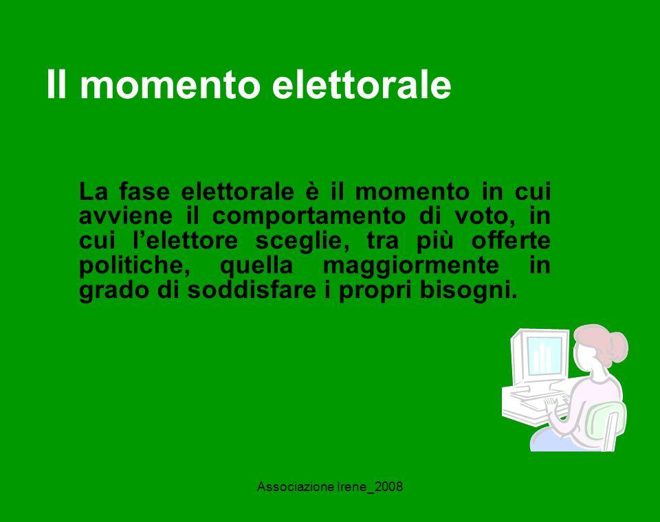 Associazione Irene_2008 Il momento elettorale La fase elettorale è il momento in cui avviene il comportamento di voto, in cui lelettore sceglie, tra più offerte politiche, quella maggiormente in grado di soddisfare i propri bisogni.