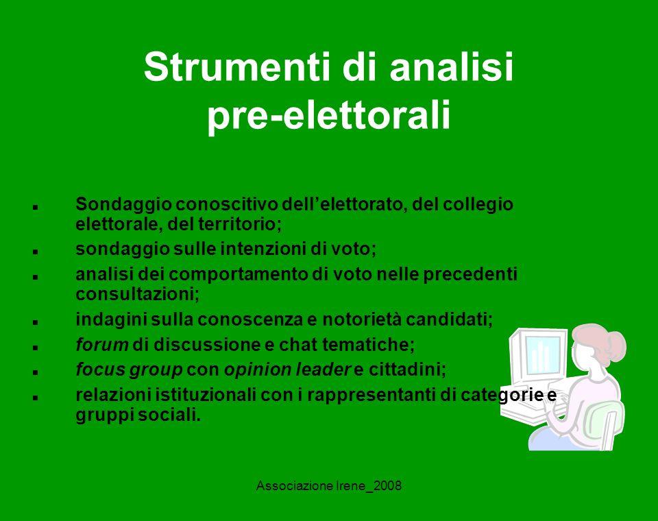 Associazione Irene_2008 Analisi del candidato Quanto è conosciuto.