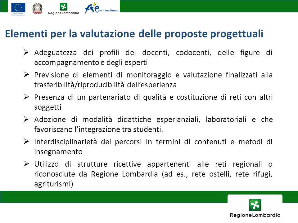 Elementi per la valutazione delle proposte progettuali Adeguatezza dei profili dei docenti, codocenti, delle figure di accompagnamento e degli esperti