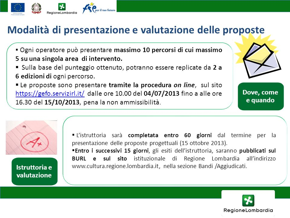 Listruttoria sarà completata entro 60 giorni dal termine per la presentazione delle proposte progettuali (15 ottobre 2013). Entro i successivi 15 gior