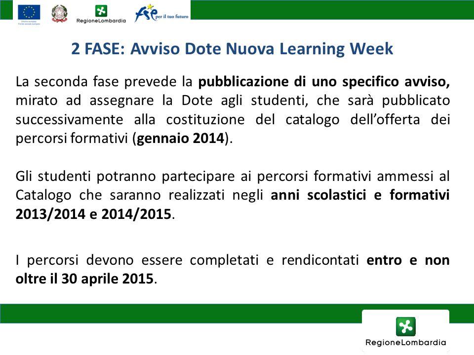 2 FASE: Avviso Dote Nuova Learning Week La seconda fase prevede la pubblicazione di uno specifico avviso, mirato ad assegnare la Dote agli studenti, c