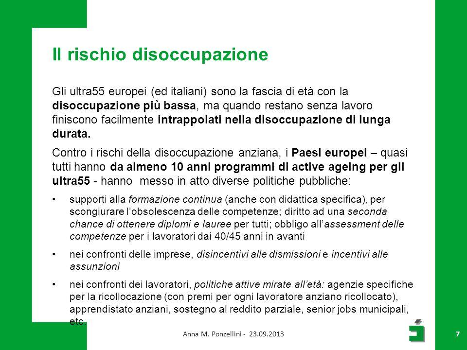 Il rischio disoccupazione Gli ultra55 europei (ed italiani) sono la fascia di età con la disoccupazione più bassa, ma quando restano senza lavoro finiscono facilmente intrappolati nella disoccupazione di lunga durata.