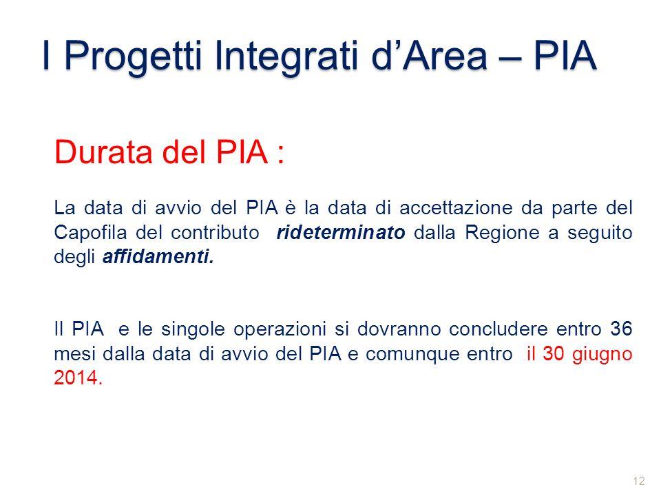 I Progetti Integrati dArea – PIA Durata del PIA : La data di avvio del PIA è la data di accettazione da parte del Capofila del contributo rideterminat