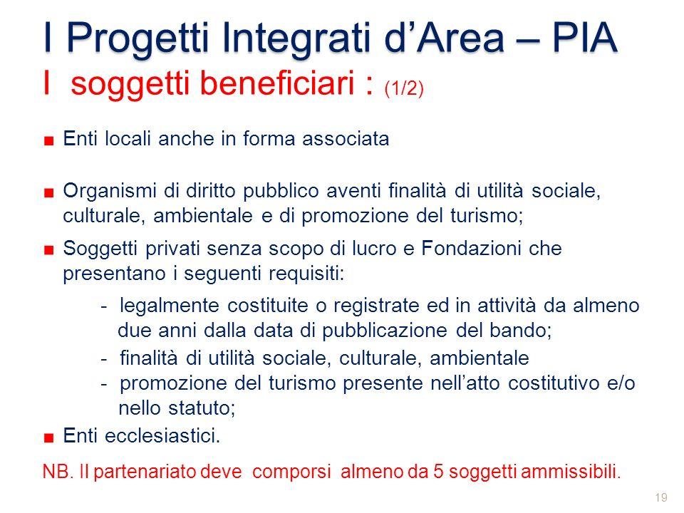 Enti locali anche in forma associata Organismi di diritto pubblico aventi finalità di utilità sociale, culturale, ambientale e di promozione del turis