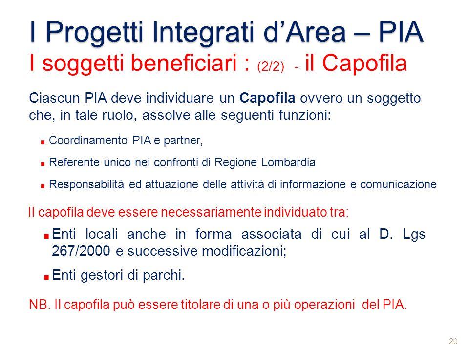 Ciascun PIA deve individuare un Capofila ovvero un soggetto che, in tale ruolo, assolve alle seguenti funzioni: Il capofila deve essere necessariament