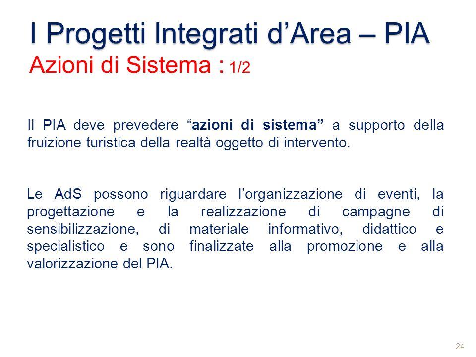 I Progetti Integrati dArea – PIA Azioni di Sistema : 1/2 Il PIA deve prevedere azioni di sistema a supporto della fruizione turistica della realtà ogg