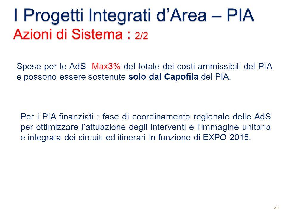 I Progetti Integrati dArea – PIA Azioni di Sistema : 2/2 25 Spese per le AdS Max3% del totale dei costi ammissibili del PIA e possono essere sostenute