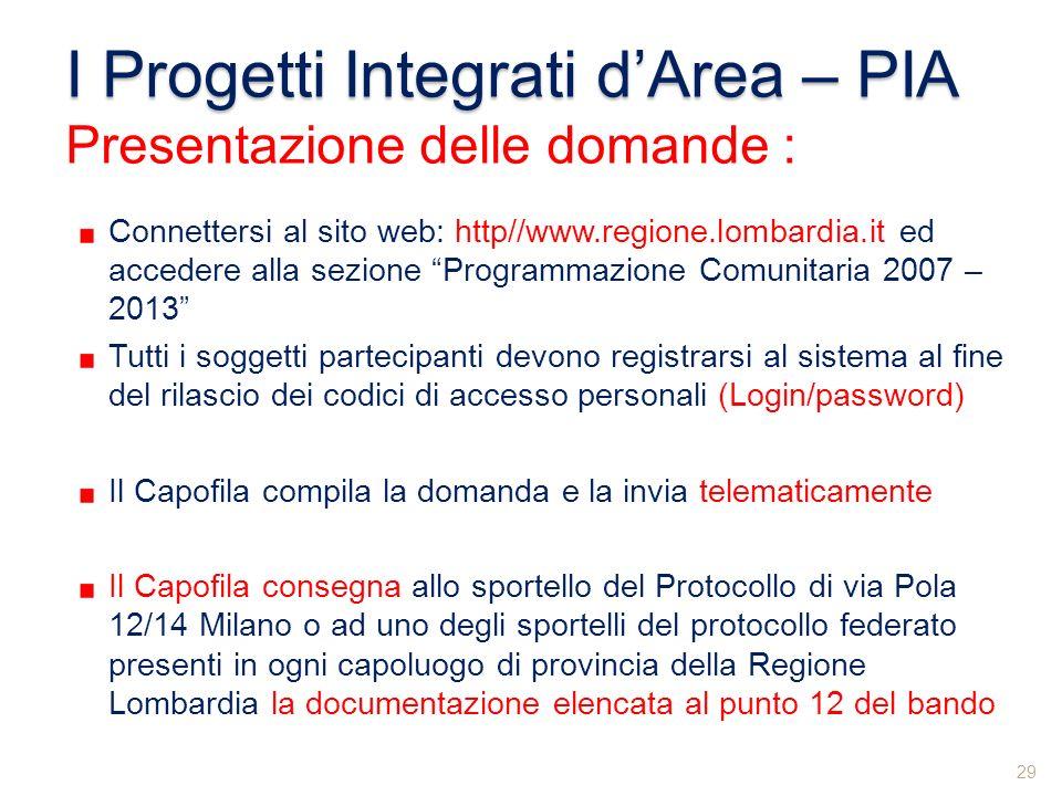 I Progetti Integrati dArea – PIA Presentazione delle domande : Connettersi al sito web: http//www.regione.lombardia.it ed accedere alla sezione Progra