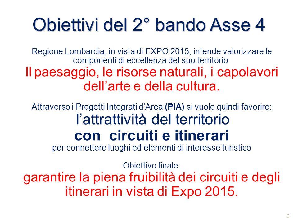 Obiettivi del 2° bando Asse 4 Regione Lombardia, in vista di EXPO 2015, intende valorizzare le componenti di eccellenza del suo territorio: Il paesagg