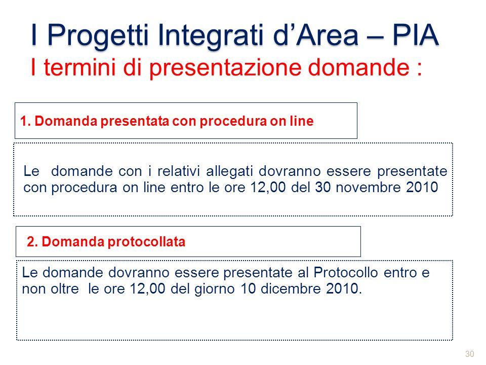I Progetti Integrati dArea – PIA I termini di presentazione domande : Le domande con i relativi allegati dovranno essere presentate con procedura on l