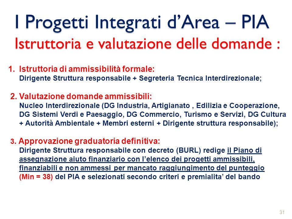 I Progetti Integrati dArea – PIA Istruttoria e valutazione delle domande : 31 1.Istruttoria di ammissibilità formale: Dirigente Struttura responsabile