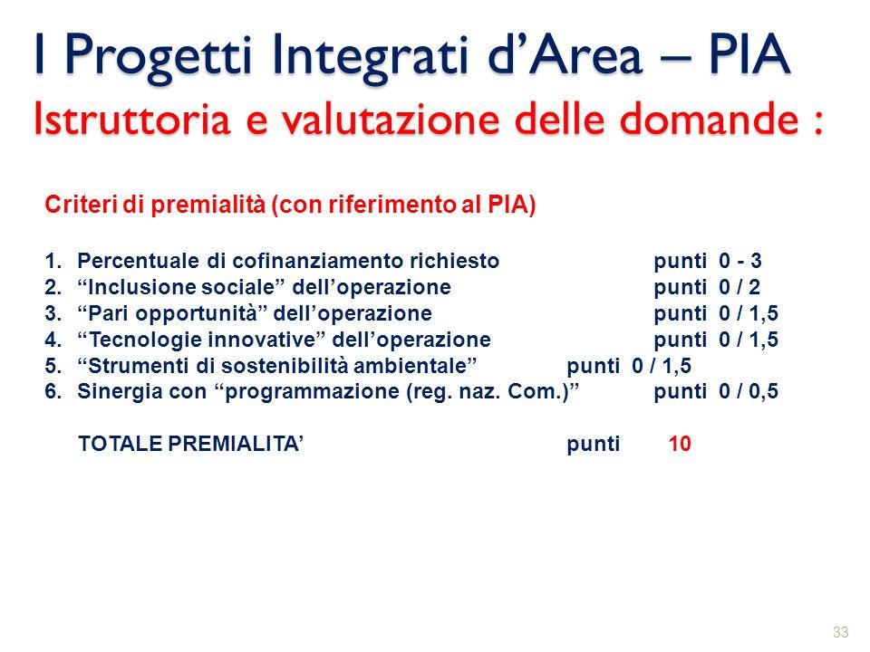 I Progetti Integrati dArea – PIA Istruttoria e valutazione delle domande : 33 Criteri di premialità (con riferimento al PIA) 1.Percentuale di cofinanz