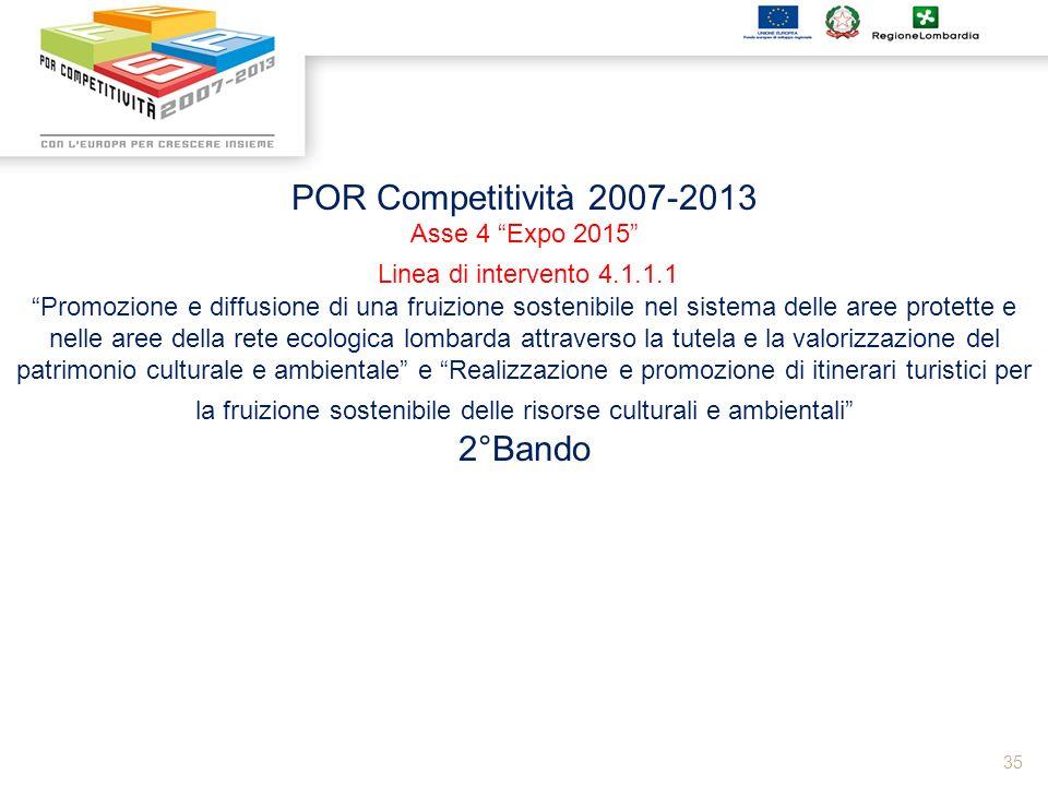 35 POR Competitività 2007-2013 Asse 4 Expo 2015 Linea di intervento 4.1.1.1 Promozione e diffusione di una fruizione sostenibile nel sistema delle are