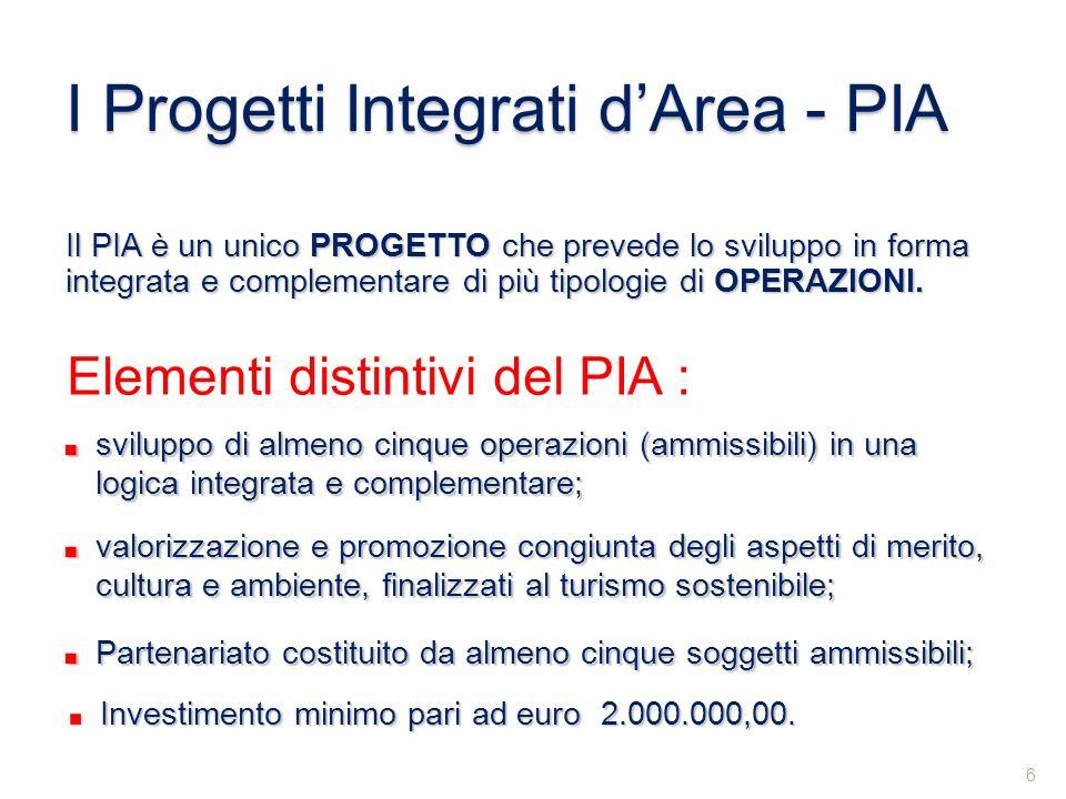 Il PIA è un unico PROGETTO che prevede lo sviluppo in forma integrata e complementare di più tipologie di OPERAZIONI. sviluppo di almeno cinque operaz