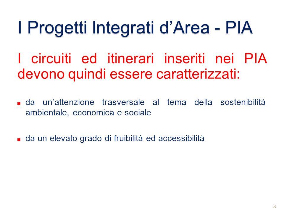 I circuiti ed itinerari inseriti nei PIA devono quindi essere caratterizzati: da unattenzione trasversale al tema della sostenibilità ambientale, econ