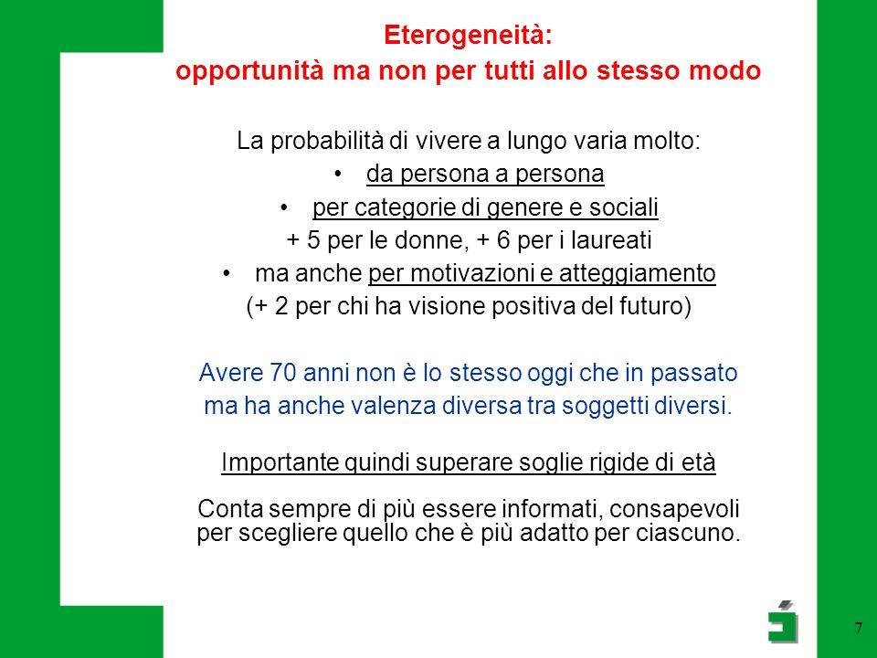 7 Eterogeneità: opportunità ma non per tutti allo stesso modo La probabilità di vivere a lungo varia molto: da persona a persona per categorie di gene