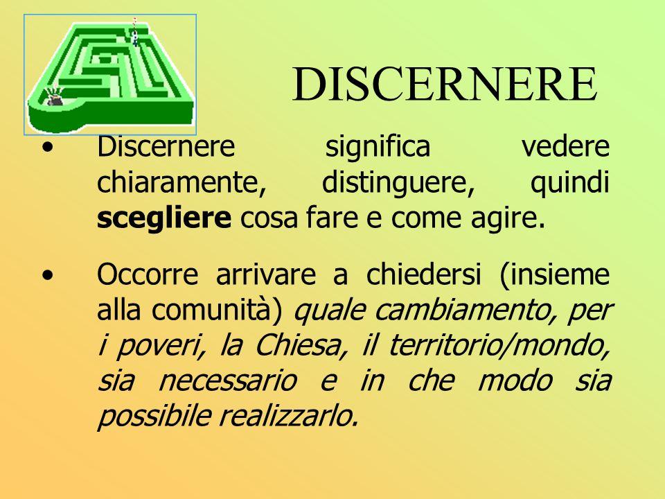 DISCERNERE Discernere significa vedere chiaramente, distinguere, quindi scegliere cosa fare e come agire. Occorre arrivare a chiedersi (insieme alla c