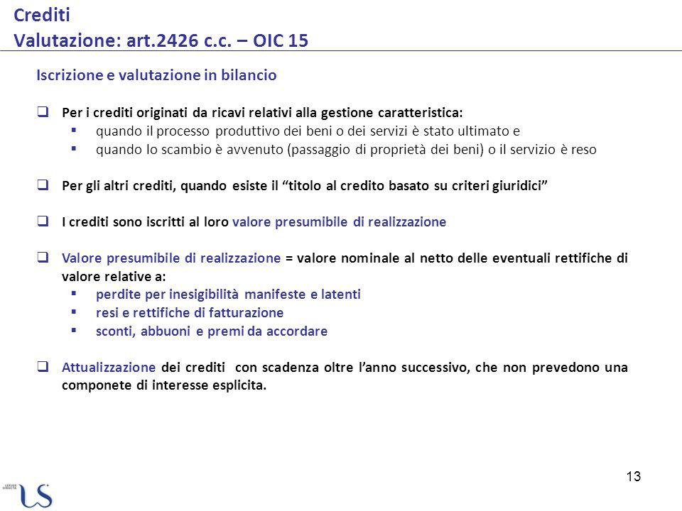 13 Crediti Valutazione: art.2426 c.c.