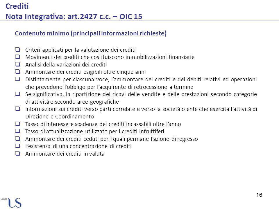 16 Crediti Nota Integrativa: art.2427 c.c. – OIC 15 Contenuto minimo (principali informazioni richieste) Criteri applicati per la valutazione dei cred