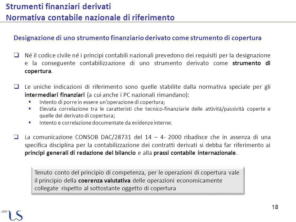 18 Strumenti finanziari derivati Normativa contabile nazionale di riferimento Designazione di uno strumento finanziario derivato come strumento di cop