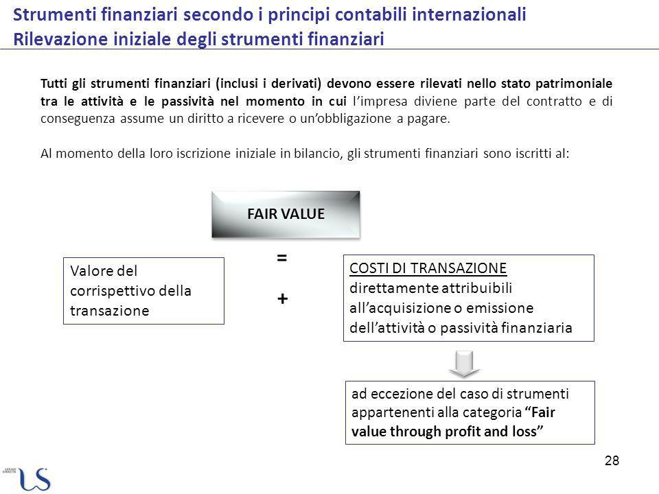 28 Strumenti finanziari secondo i principi contabili internazionali Rilevazione iniziale degli strumenti finanziari Tutti gli strumenti finanziari (in