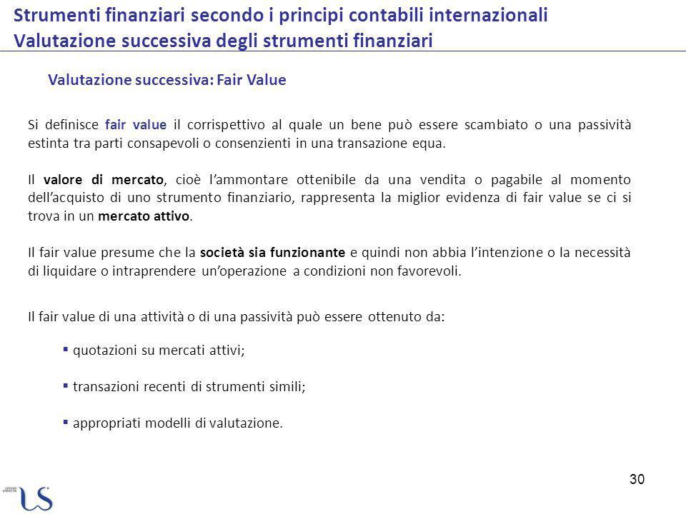 30 Strumenti finanziari secondo i principi contabili internazionali Valutazione successiva degli strumenti finanziari Valutazione successiva: Fair Val