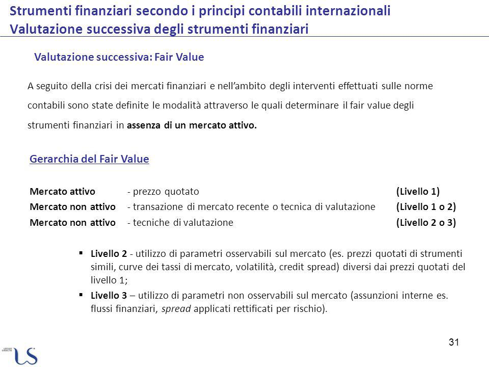 31 Strumenti finanziari secondo i principi contabili internazionali Valutazione successiva degli strumenti finanziari Valutazione successiva: Fair Val