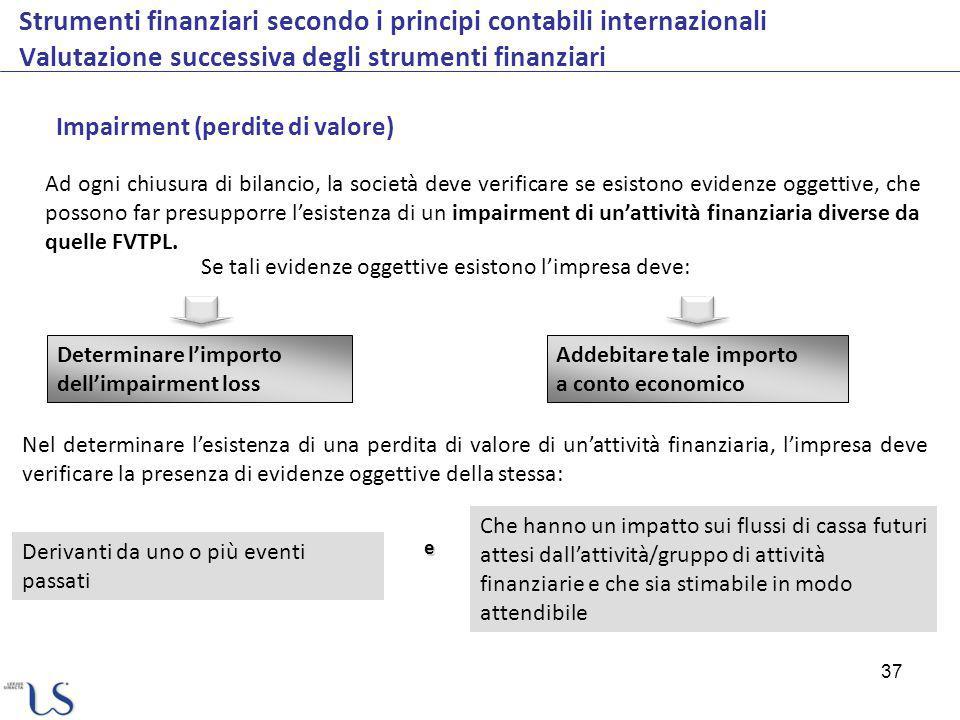 37 Strumenti finanziari secondo i principi contabili internazionali Valutazione successiva degli strumenti finanziari Ad ogni chiusura di bilancio, la