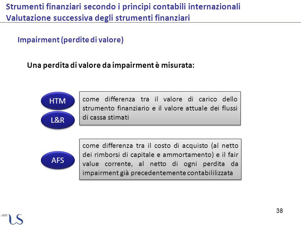 38 Strumenti finanziari secondo i principi contabili internazionali Valutazione successiva degli strumenti finanziari Impairment (perdite di valore) U